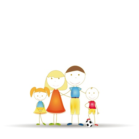 Happy famili: father and mother and daughters and son Vector