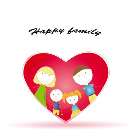 familia animada: feliz y lindo toda la familia y el corazón Vectores