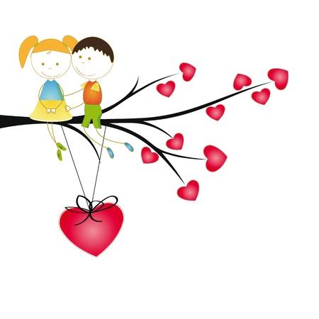 cartoon wedding couple: Cute and  happy kids on tree with hearts