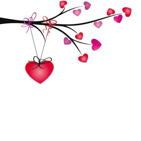 encantador: Corações bonitos pendurar na marca com fitas