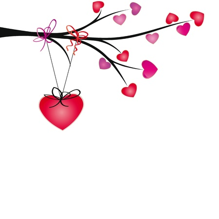 Cute hearts hang on brand with ribbons Illustration