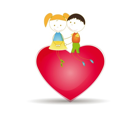 feast day: Cute and happy kids with red heart Illustration