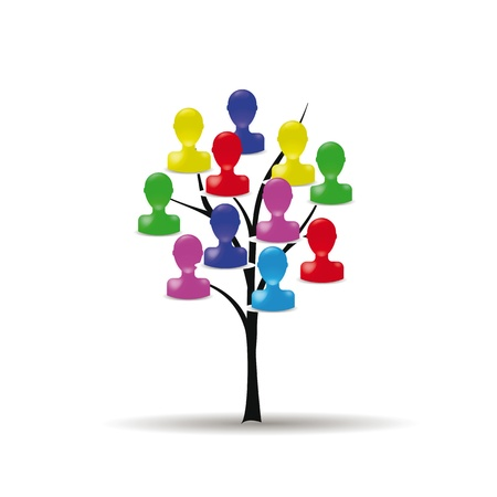 femme: Abstract and colorful figure on business tree