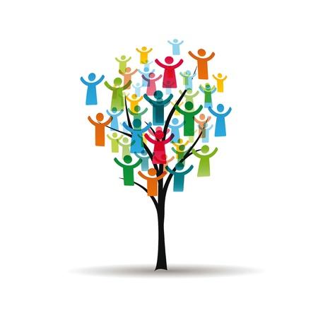Abstracte en kleurrijke figuren tonen gelukkige volkeren op boom