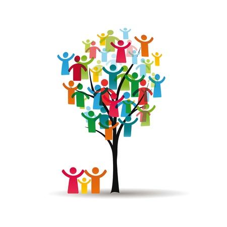 familias unidas: Figuras abstractas y coloridas que muestran los pueblos felices y árboles Vectores