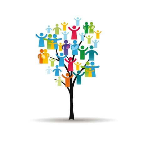 la société: Figures abstraites et colorées montrant les peuples heureux et arbres Illustration