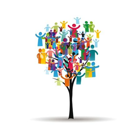Figure astratte e colorate che mostrano i popoli felici e l'albero