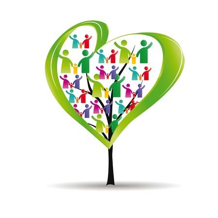 solidaridad: Figuras abstractas y coloridas que muestran los pueblos felices y el árbol con el corazón