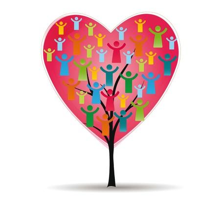 happiness: Figuras abstractas y coloridas que muestran los pueblos felices y el árbol con el corazón