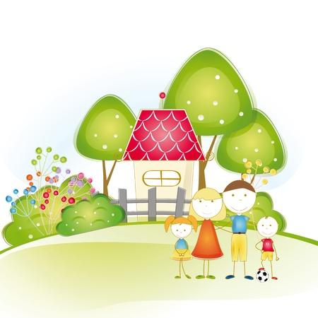 familia animada: Lindo y feliz toda la familia con la mayor casa Vectores
