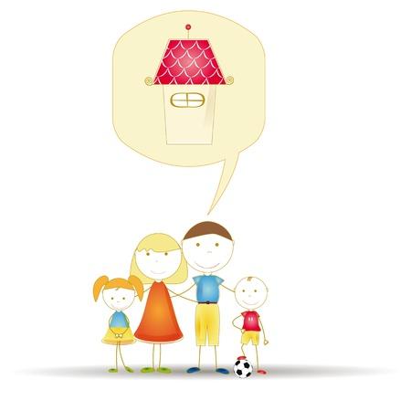 familia animada: Sueño youngl familia linda y feliz de casa