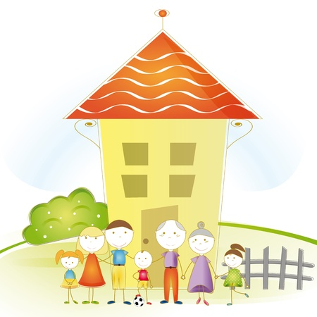 family moving house: Cute and happy all family with as house Illustration