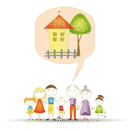 familia animada: Lindo y feliz toda la familia sueña con casa Vectores