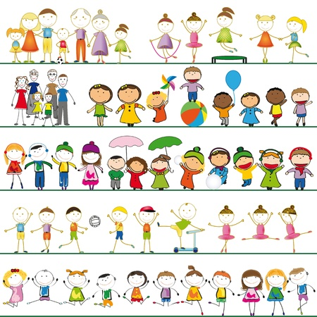 Many sets of boys, girls and family Illustration