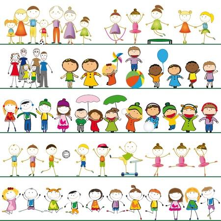 bambini che suonano: Molti gruppi di ragazzi, ragazze e famiglie Vettoriali