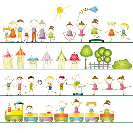 familia animada: Muchos conjuntos de niños, niñas y familias