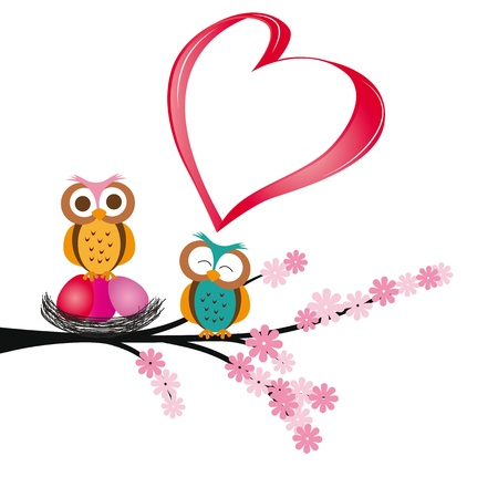 Cute and colorful card with owls and heart Illustration