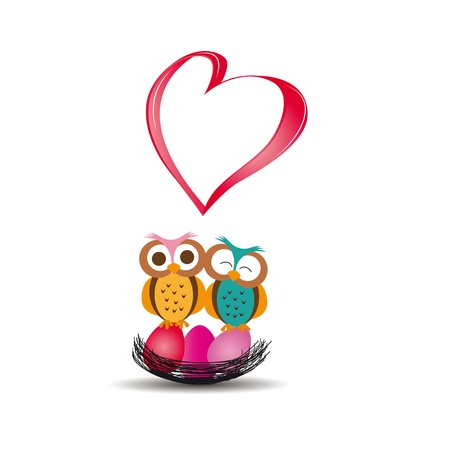 Cute and colorful card with owls and heart Vector