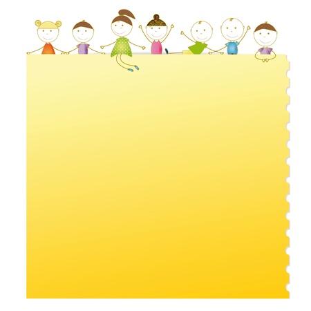 枚の紙のノートで幸せな子供