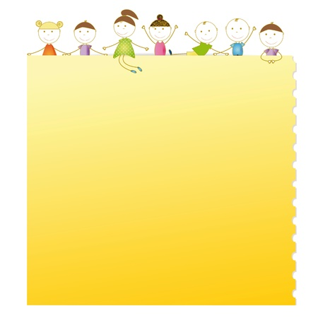 Happy kids with sheet of paper with notebook