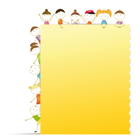 cute border: Happy kids with sheet of paper with notebook