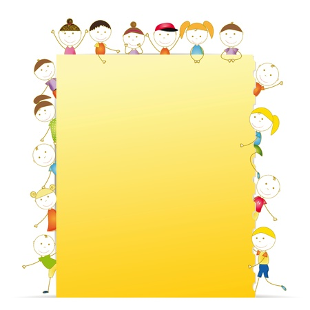 school frame: Happy kids with sheet of paper with notebook
