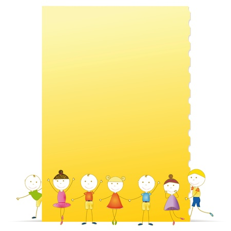 Happy kids with sheet of paper with notebook Stock Vector - 16244111