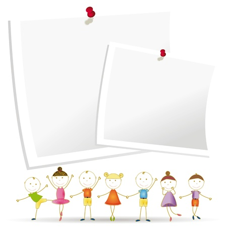 yellow notebook: Happy and cute kids with sheets of paper