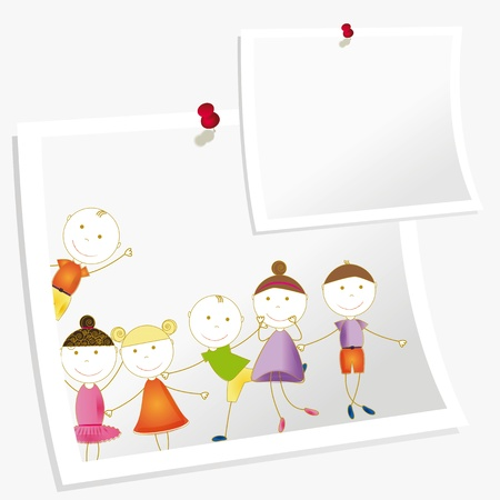 group picture: Felices los ni�os y lindo con hojas de papel Vectores
