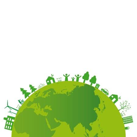 Ecología concepto se puede utilizar en el Día de la Tierra Ilustración de vector