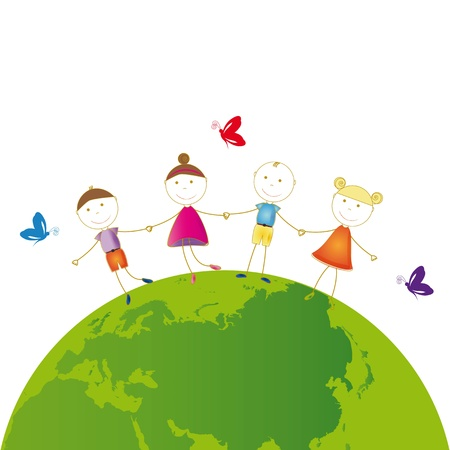 Happy girls and boys on green globe Stock Vector - 16505174
