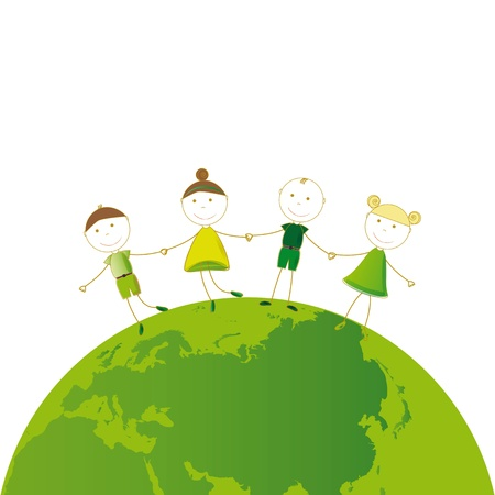 Happy girls and boys on green globe Vector