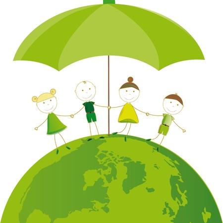 wereldbol groen: Gelukkig meisjes en jongens op groen wereldbol