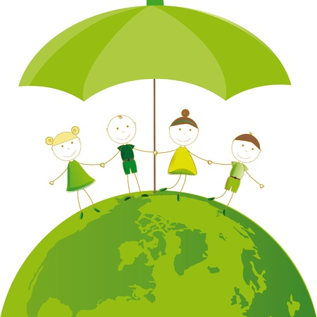 going green: Happy girls and boys on green globe