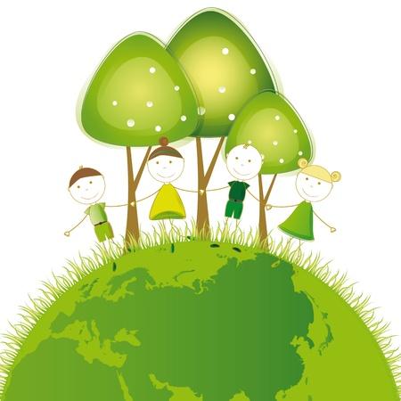 Happy girls and boys on green globe Stock Vector - 16505188