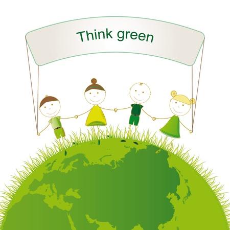 mani terra: Ragazze e ragazzi felici sul globo verde Vettoriali