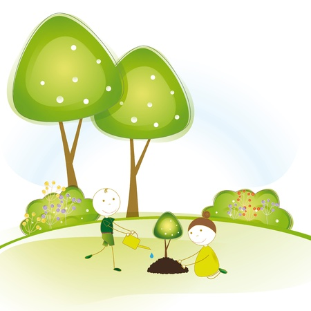Happy girls and boys plant green trees Stock Vector - 16505187