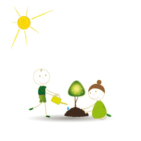 growing together: Happy girls and boys plant green trees
