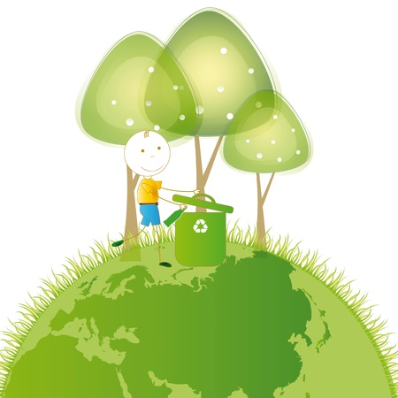 wastepaper basket: Happy and small boy earth protection and think green