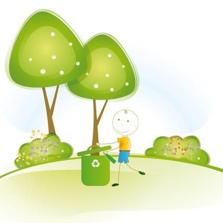 think green: Ni�o feliz y peque�o protecci�n de tierra y pensar en verde