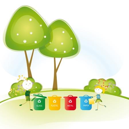 Niño feliz y protección chica tierra y pensar en verde Ilustración de vector