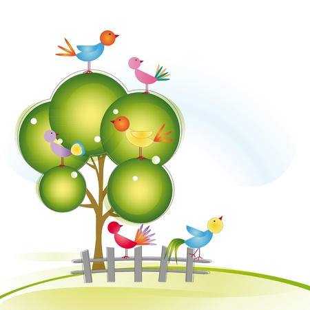 Colorful and cute birds on tree and fence Stock Vector - 16505171
