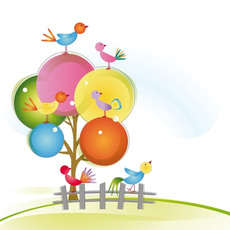 Colorful and cute birds on tree and fence Stock Vector - 16505168