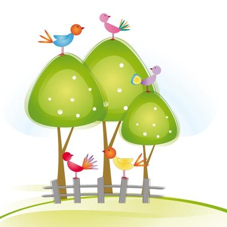 Pájaros coloridos y lindos en árbol y la cerca