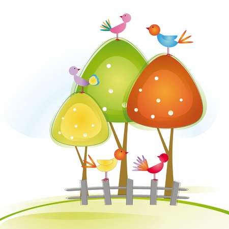 Colorful and cute birds on tree and fence Stock Vector - 16505180