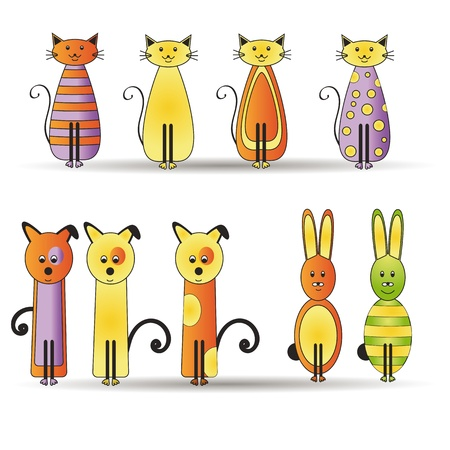 Cute and colorful cats and dogs and rabbits Vector