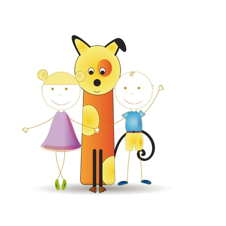 Abstract and cute colorful kids with dog Vector