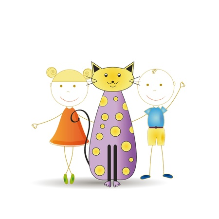 Abstract and cute colorful kids with cat Stock Vector - 16553216