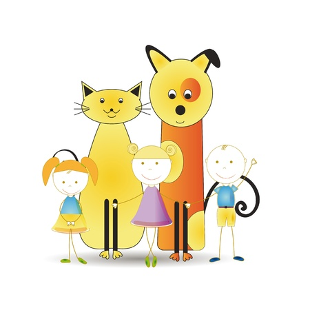 Abstract and cute colorful kids with pets Vector