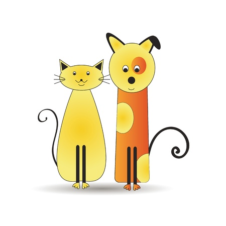 pussy cat: Abstract and cute colorful cats and dog Illustration
